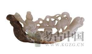 明代 · 镂雕船形玉摆件(重庆中国三峡博物馆)